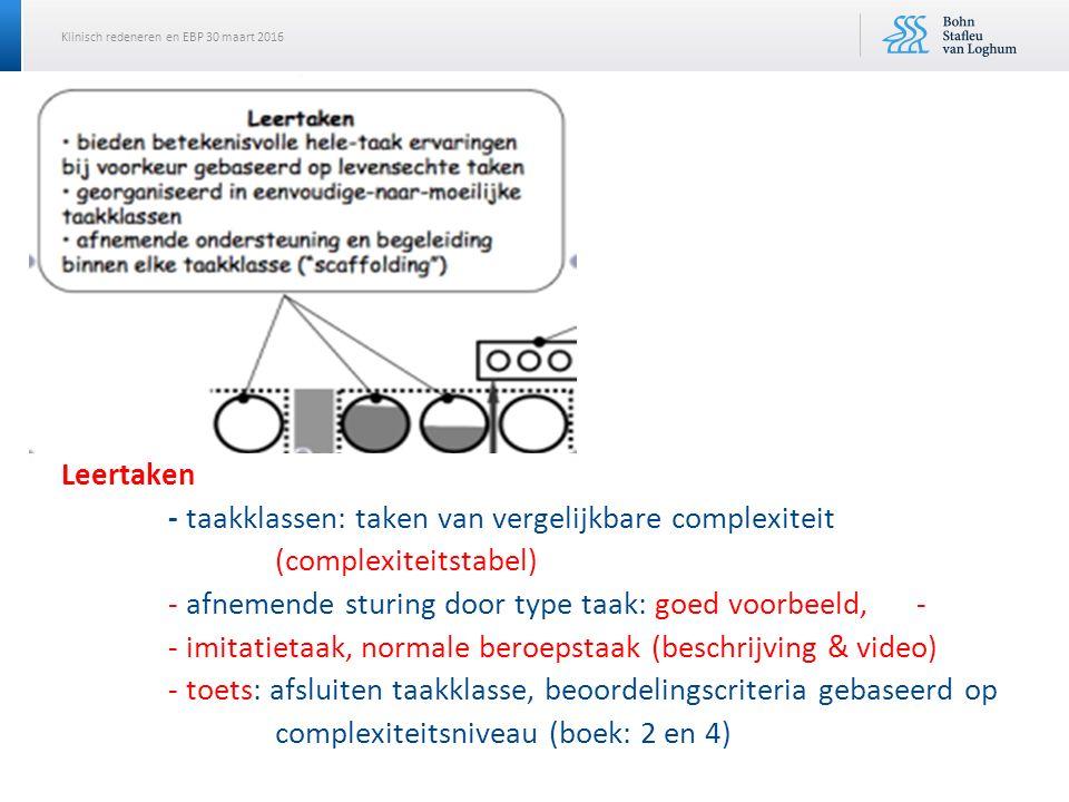 Leertaken. - taakklassen: taken van vergelijkbare complexiteit