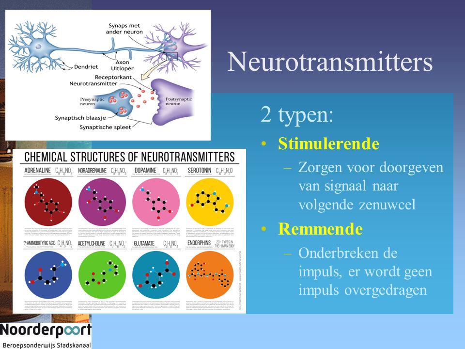 Neurotransmitters 2 typen: Stimulerende Remmende
