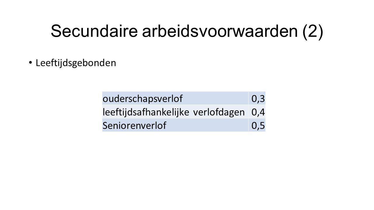 Secundaire arbeidsvoorwaarden (2)