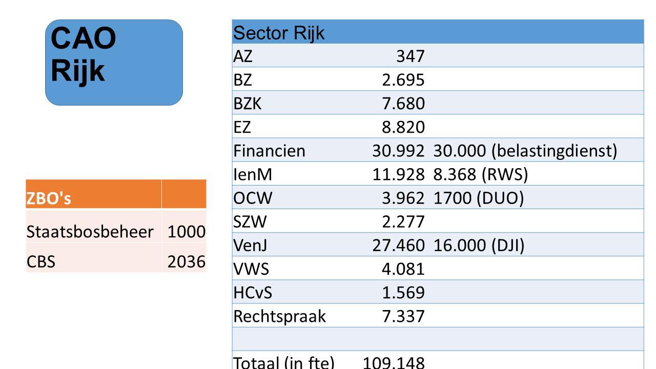 CAO Rijk Sector Rijk AZ 347 BZ 2.695 BZK 7.680 EZ 8.820 Financien