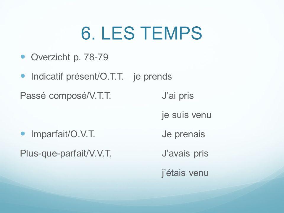 6. LES TEMPS Overzicht p. 78-79 Indicatif présent/O.T.T. je prends