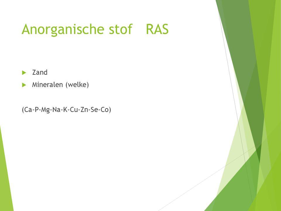 Anorganische stof RAS Zand Mineralen (welke)