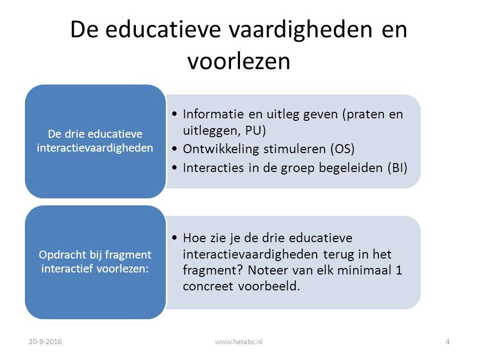 De educatieve vaardigheden en voorlezen