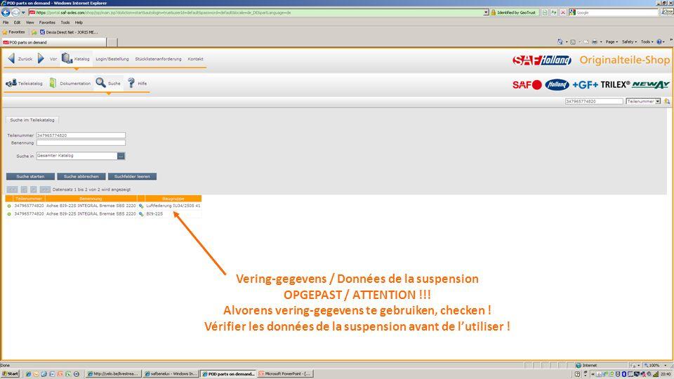 Vering-gegevens / Données de la suspension OPGEPAST / ATTENTION !!!