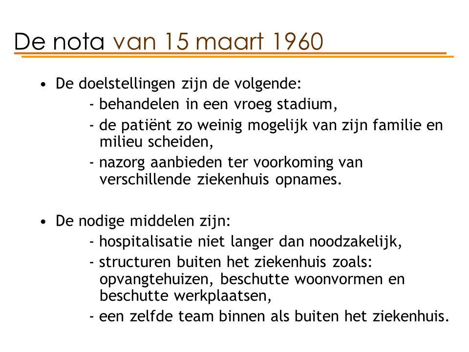 De nota van 15 maart 1960 De doelstellingen zijn de volgende: