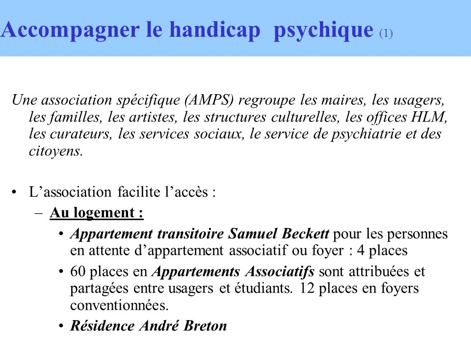 Accompagner le handicap psychique (1)