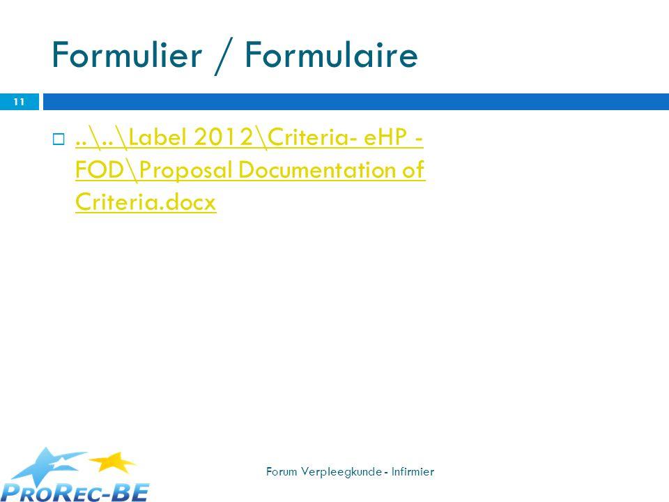 Formulier / Formulaire