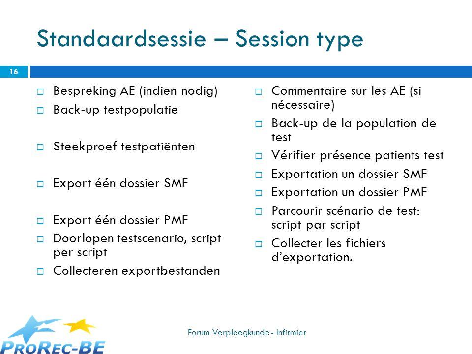 Standaardsessie – Session type
