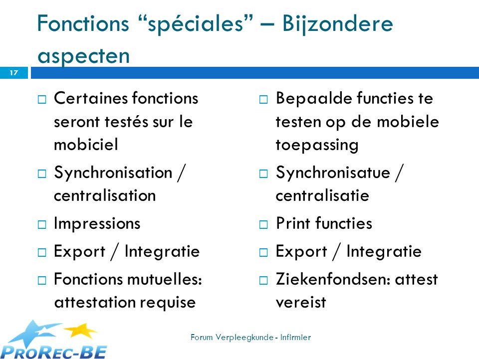 Fonctions spéciales – Bijzondere aspecten