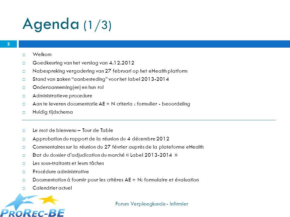 Agenda (1/3) Welkom Goedkeuring van het verslag van 4.12.2012