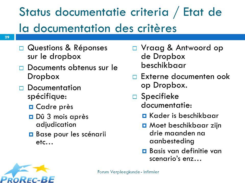 Status documentatie criteria / Etat de la documentation des critères