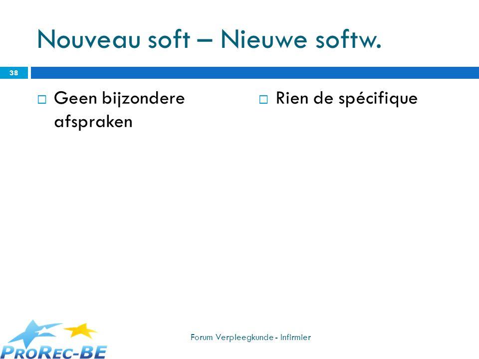 Nouveau soft – Nieuwe softw.