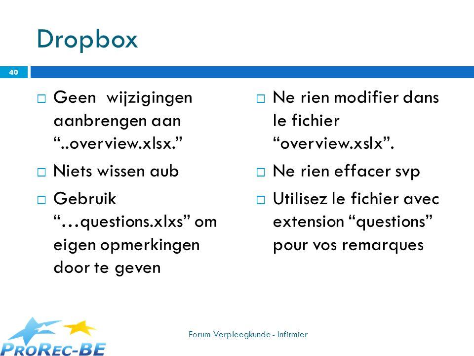 Dropbox Geen wijzigingen aanbrengen aan ..overview.xlsx.