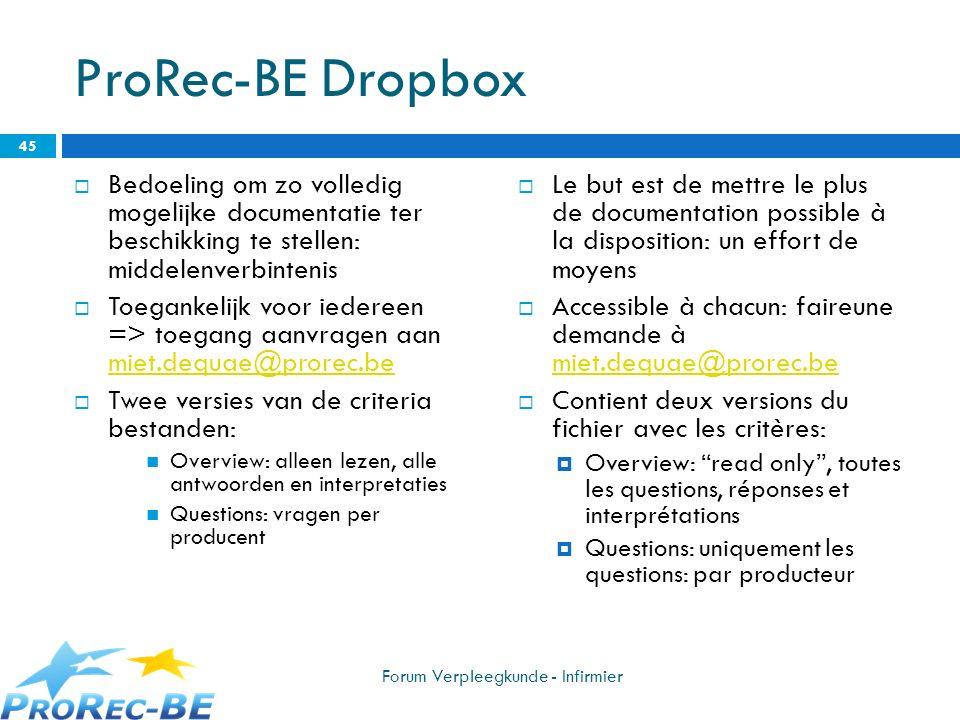 ProRec-BE Dropbox Bedoeling om zo volledig mogelijke documentatie ter beschikking te stellen: middelenverbintenis.