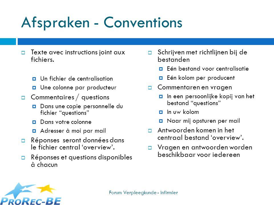 Afspraken - Conventions