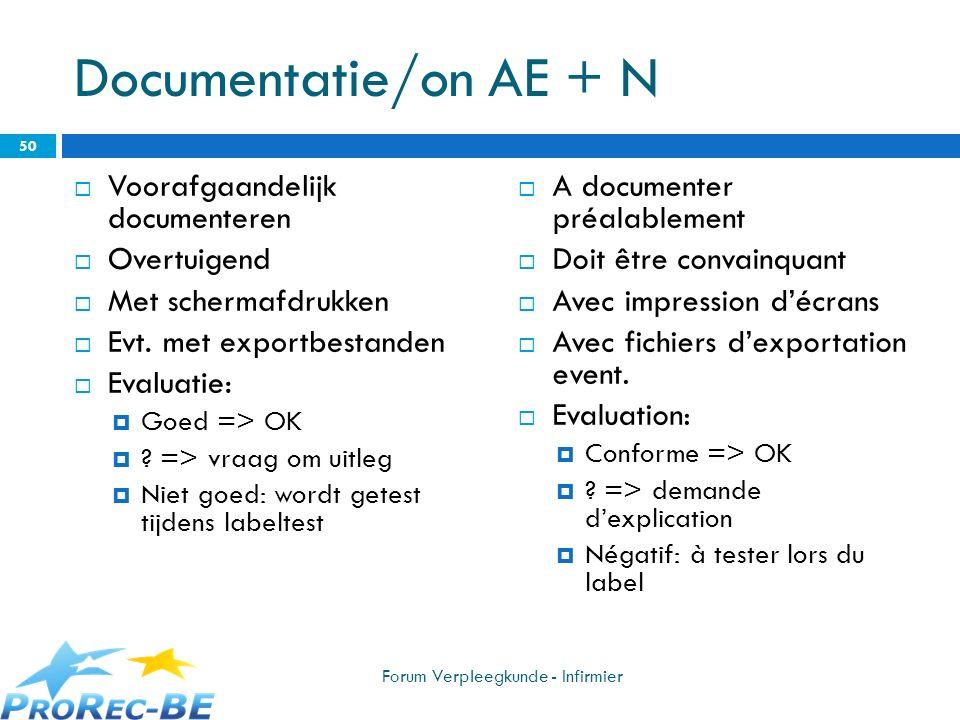 Documentatie/on AE + N Voorafgaandelijk documenteren Overtuigend