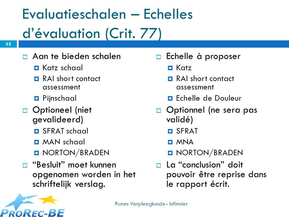 Evaluatieschalen – Echelles d'évaluation (Crit. 77)