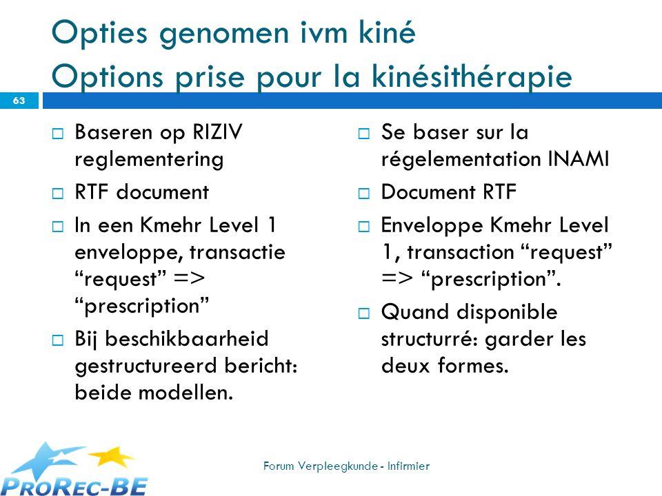 Opties genomen ivm kiné Options prise pour la kinésithérapie