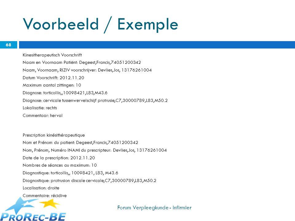 Voorbeeld / Exemple Forum Verpleegkunde - Infirmier