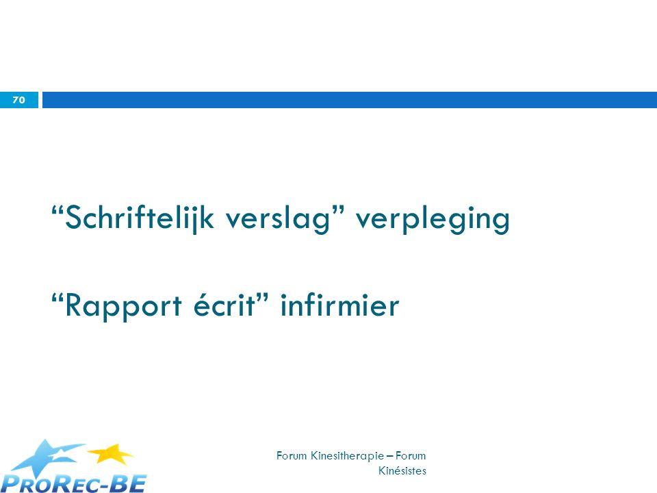 Schriftelijk verslag verpleging Rapport écrit infirmier