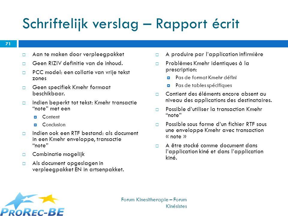 Schriftelijk verslag – Rapport écrit