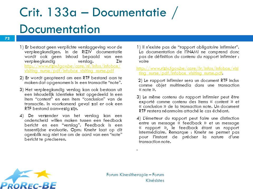 Crit. 133a – Documentatie / Documentation