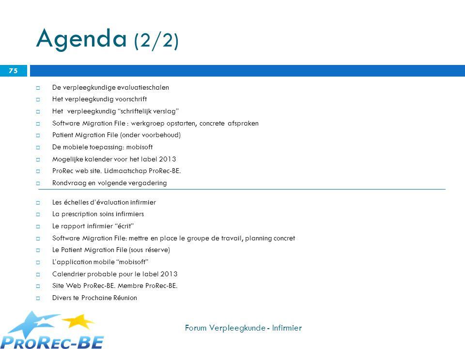 Agenda (2/2) Forum Verpleegkunde - Infirmier