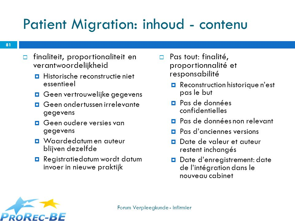 Patient Migration: inhoud - contenu