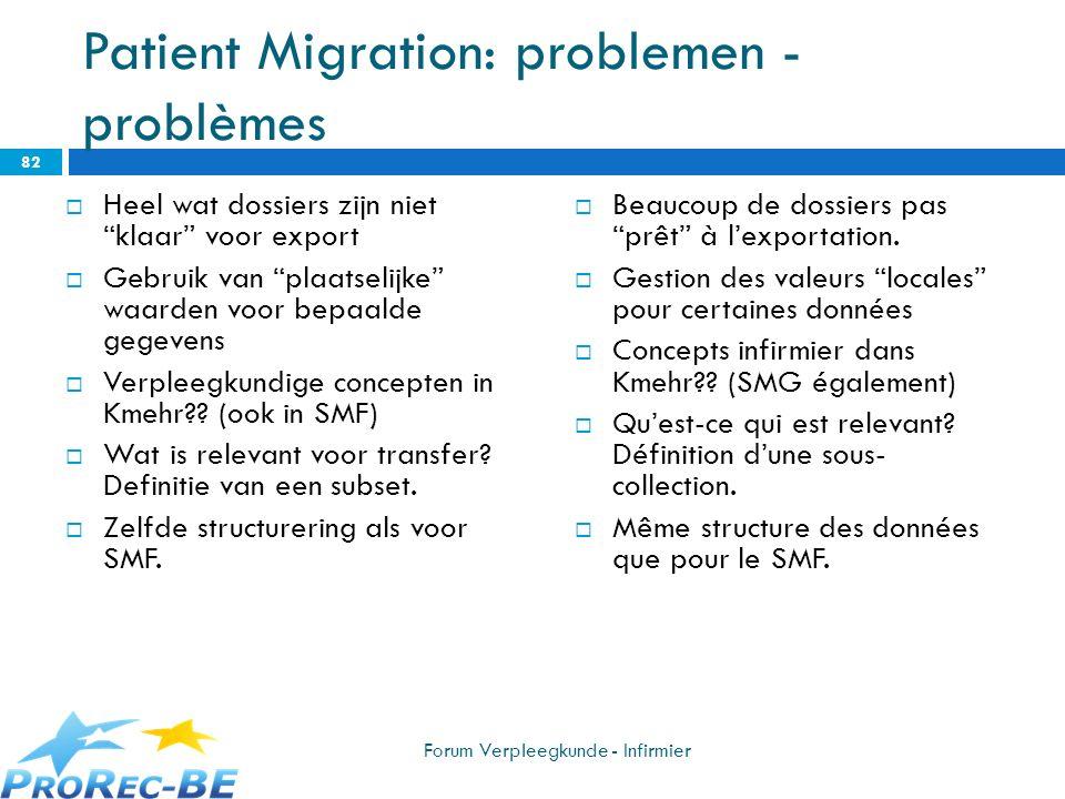 Patient Migration: problemen -problèmes