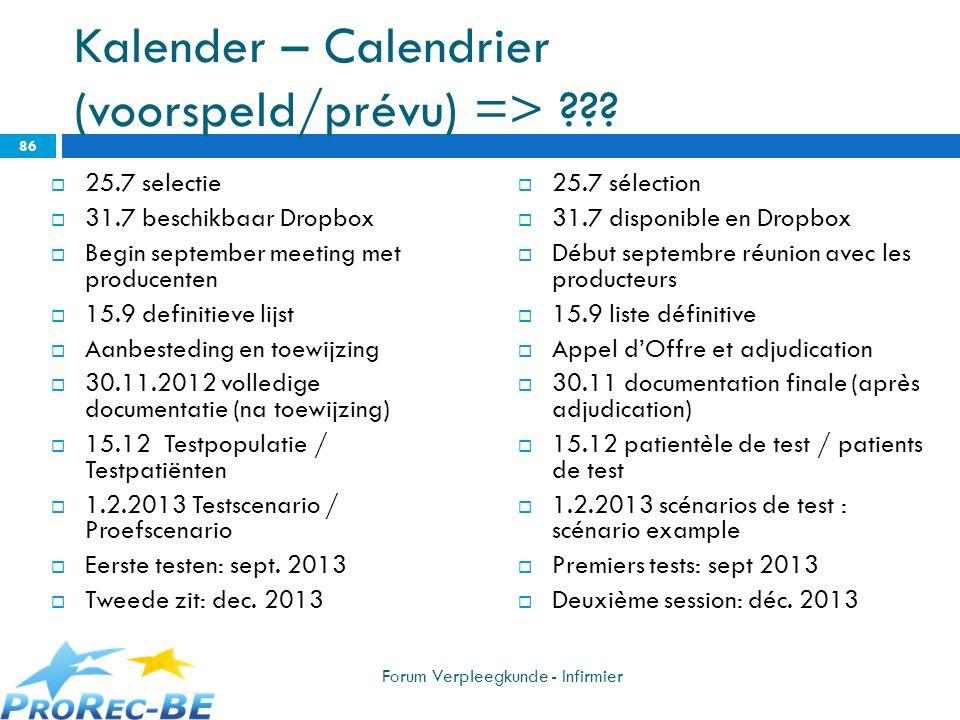 Kalender – Calendrier (voorspeld/prévu) =>