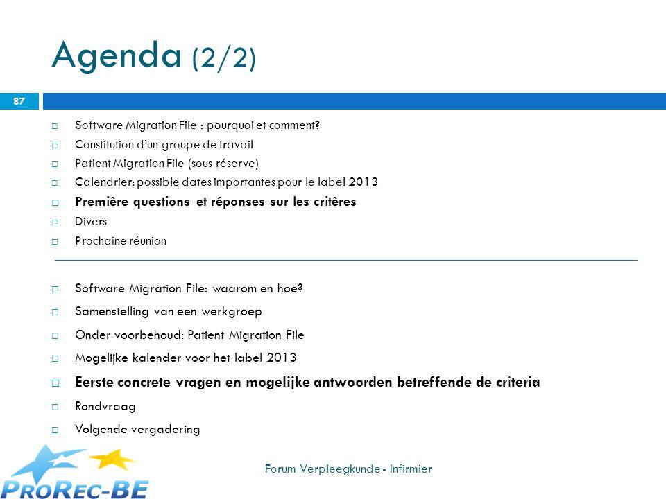 Agenda (2/2) Software Migration File : pourquoi et comment Constitution d'un groupe de travail. Patient Migration File (sous réserve)
