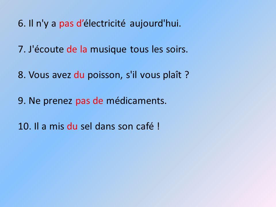 6. Il n y a pas d'électricité aujourd hui.