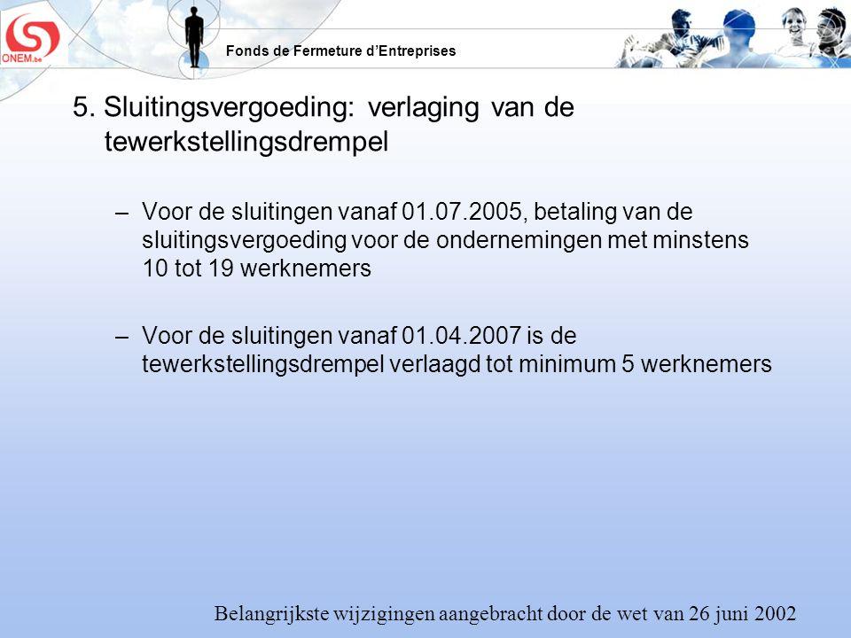 5. Sluitingsvergoeding: verlaging van de tewerkstellingsdrempel