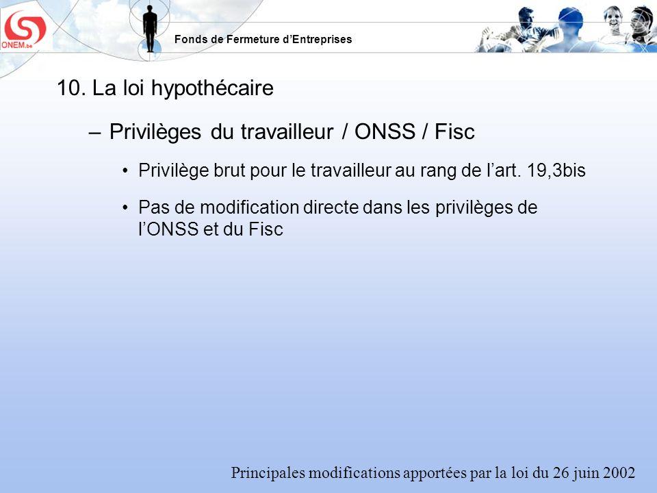 Privilèges du travailleur / ONSS / Fisc