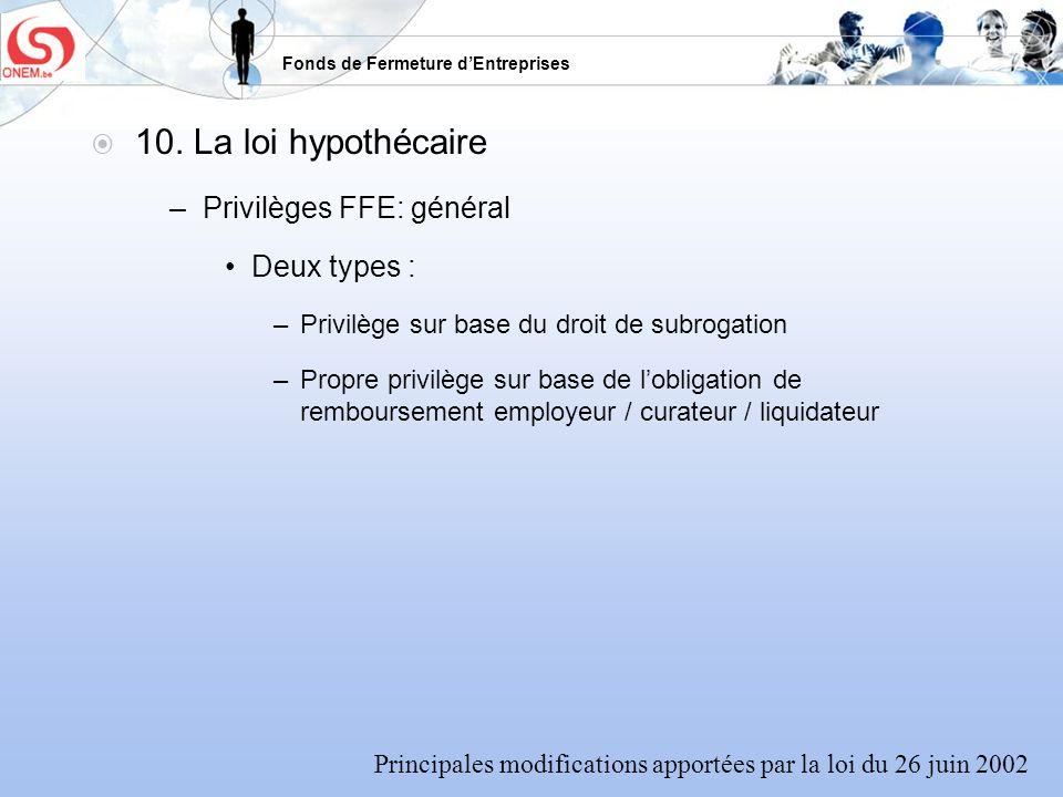 10. La loi hypothécaire Privilèges FFE: général Deux types :