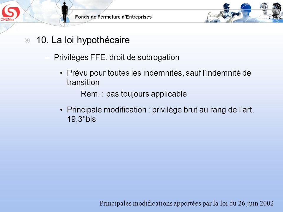 10. La loi hypothécaire Privilèges FFE: droit de subrogation
