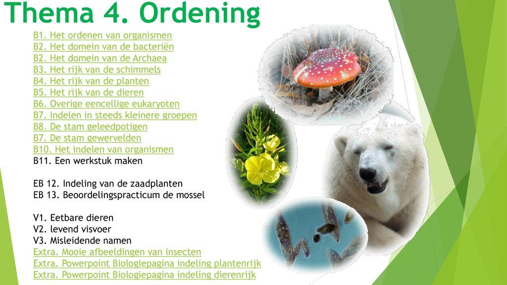 Thema 4. Ordening B1. Het ordenen van organismen