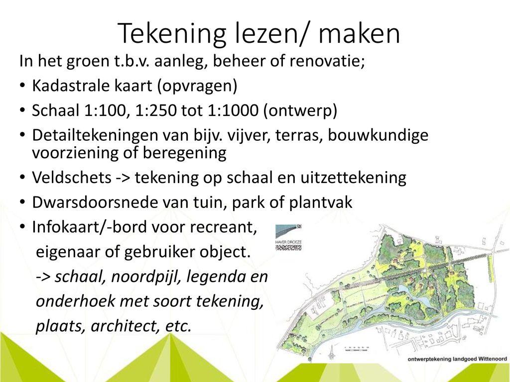 Landmeten waterpassen ppt video online download for Tekening op schaal maken