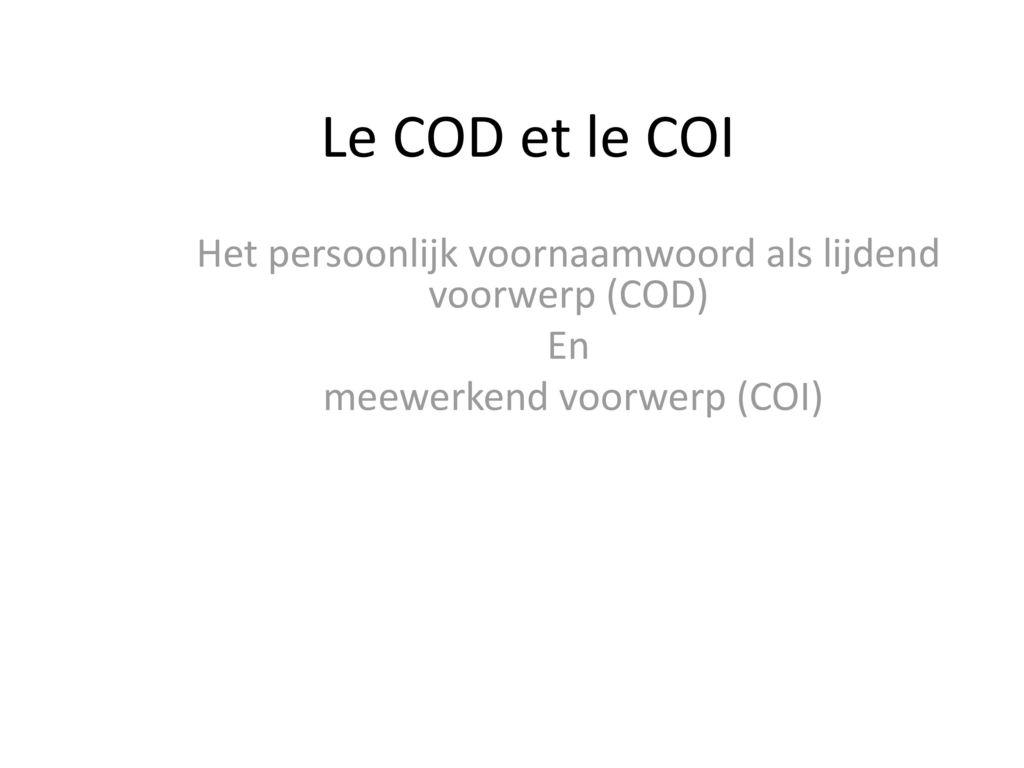 le cod et le coi pdf