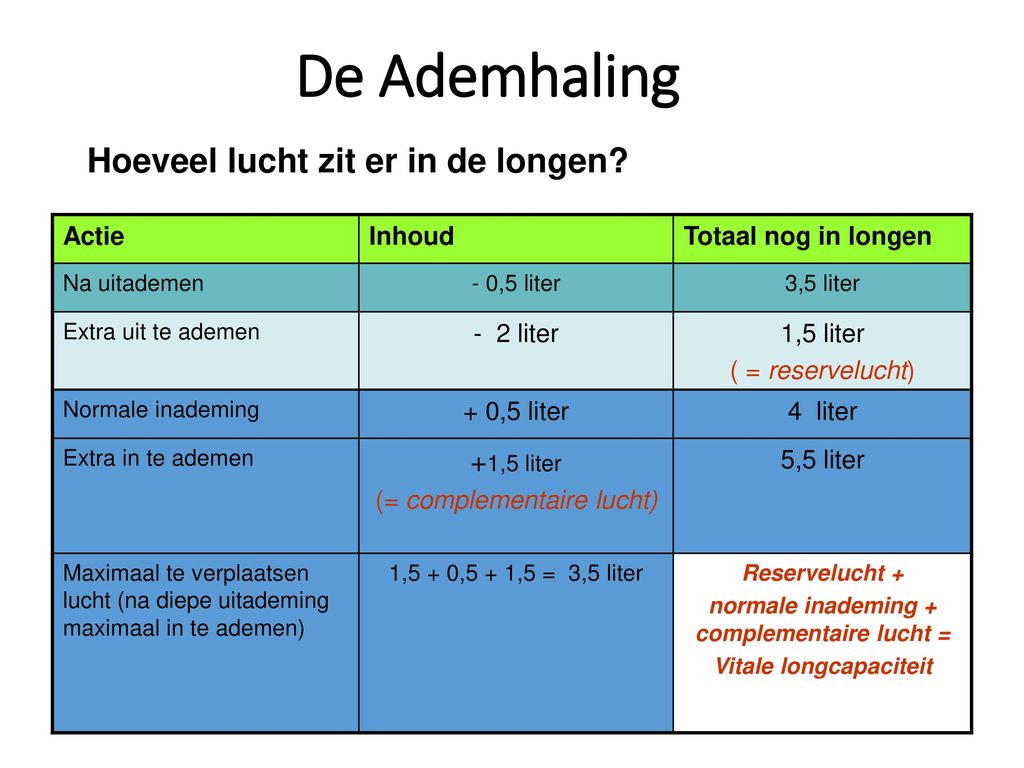 normale inademing + complementaire lucht = Vitale longcapaciteit