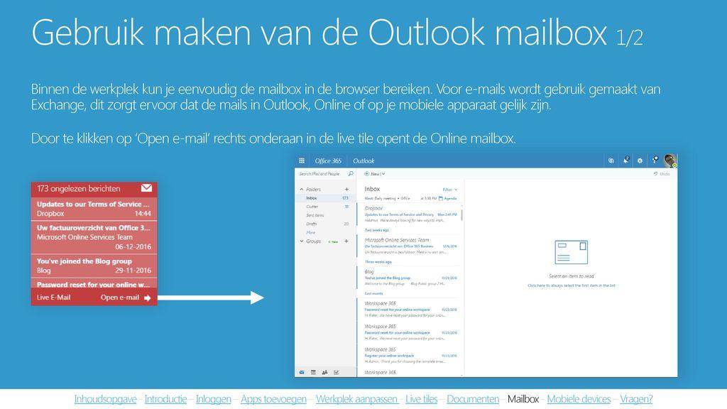 Gebruik maken van de Outlook mailbox 1/2