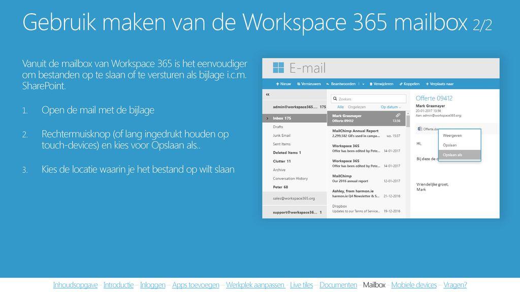 Gebruik maken van de Workspace 365 mailbox 2/2