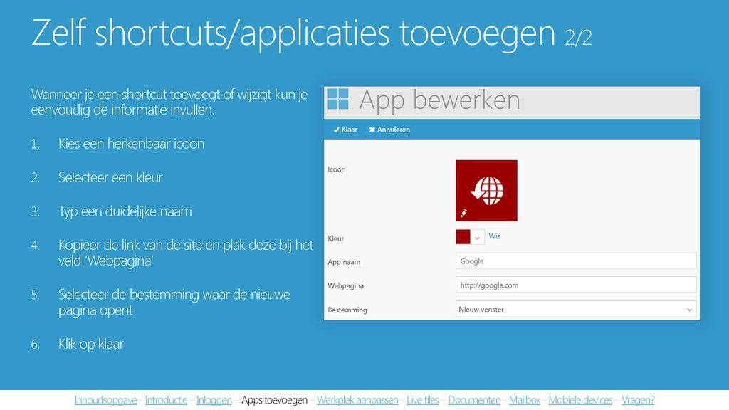 Zelf shortcuts/applicaties toevoegen 2/2