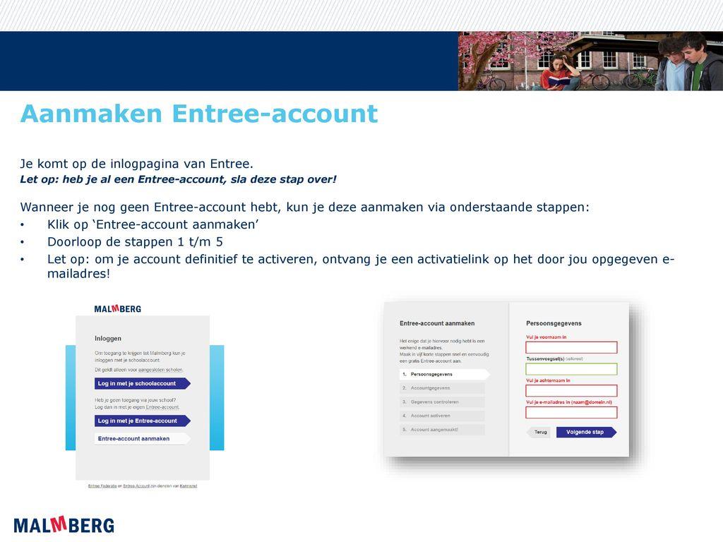 Aanmaken Entree-account