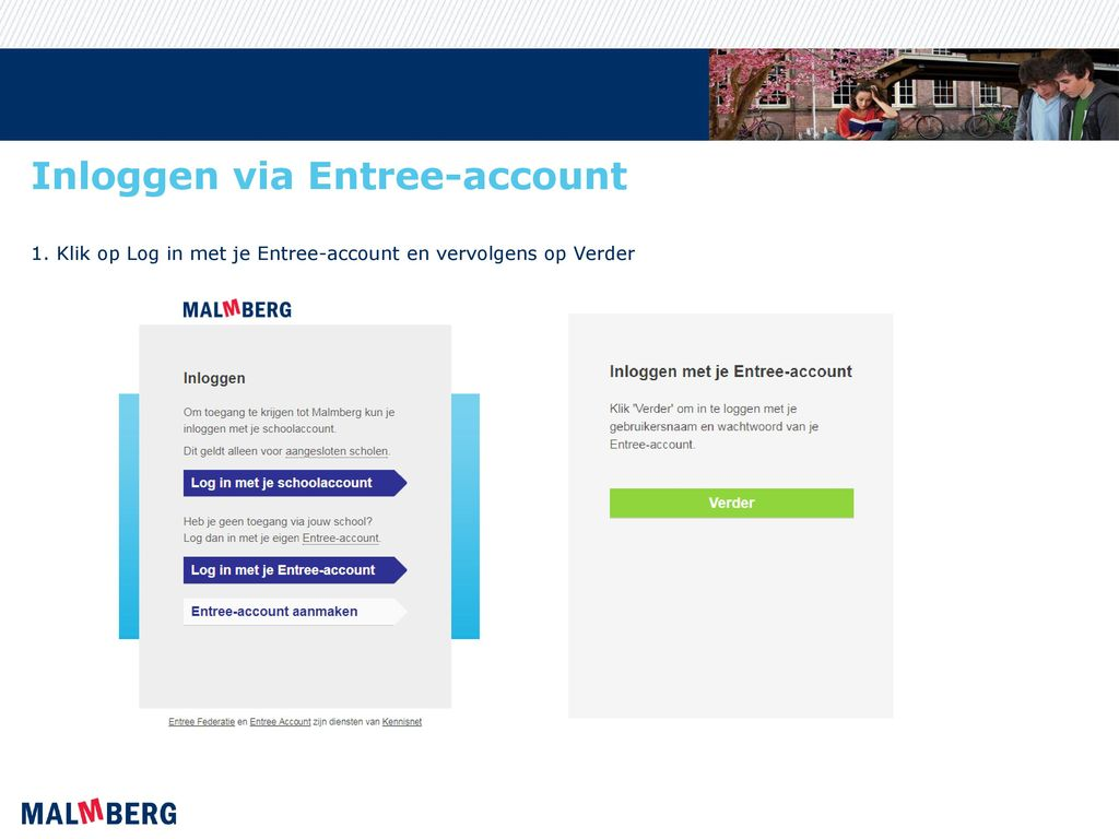 Inloggen via Entree-account