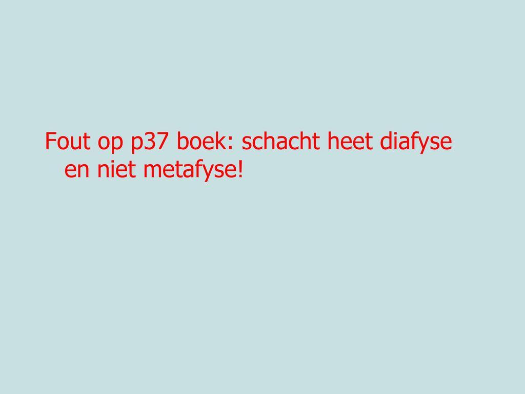 Fout op p37 boek: schacht heet diafyse en niet metafyse!