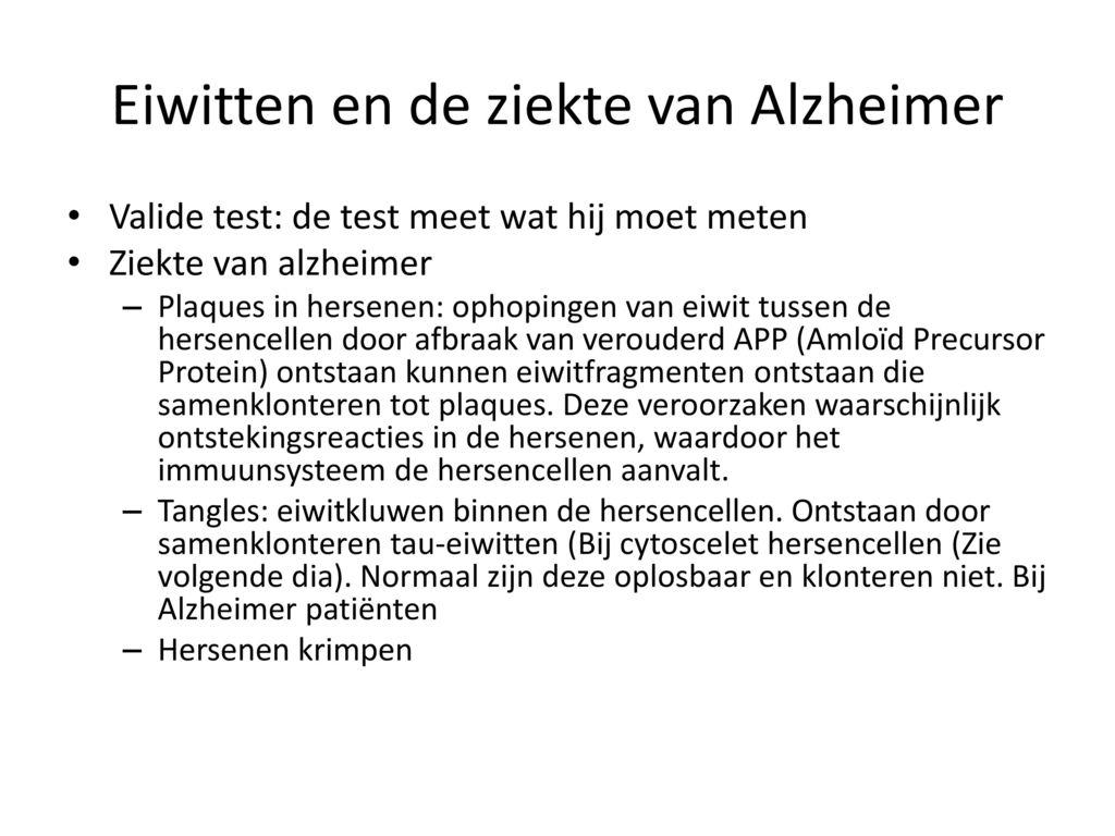 Eiwitten en de ziekte van Alzheimer