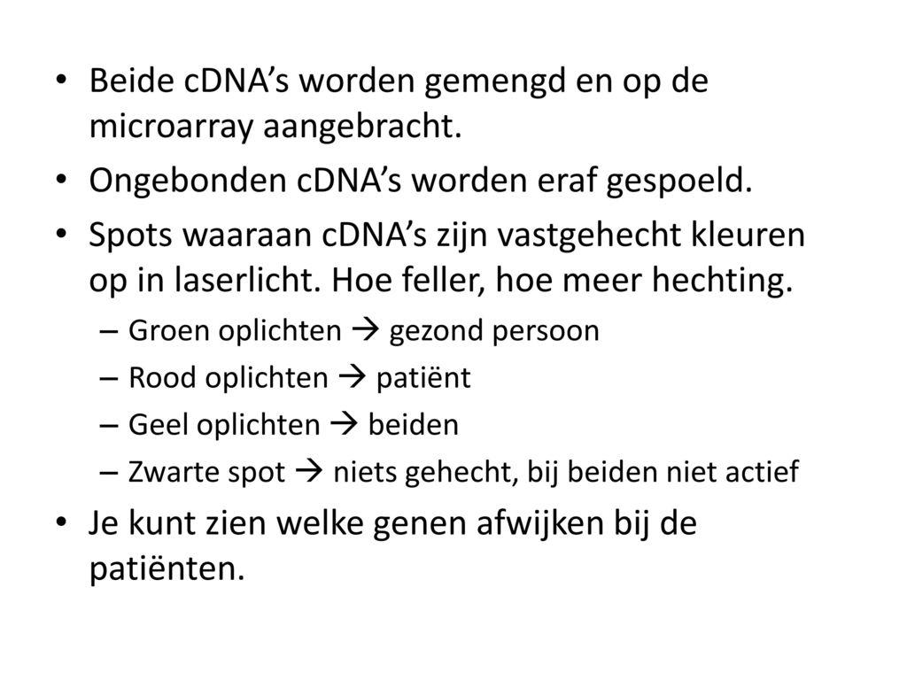 Beide cDNA's worden gemengd en op de microarray aangebracht.