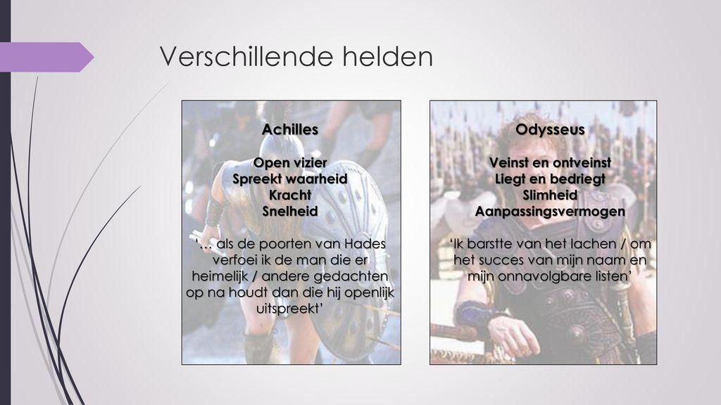 Verschillende helden Achilles Odysseus Open vizier Spreekt waarheid