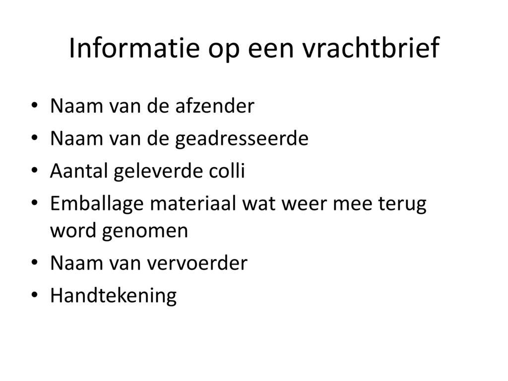 Informatie op een vrachtbrief